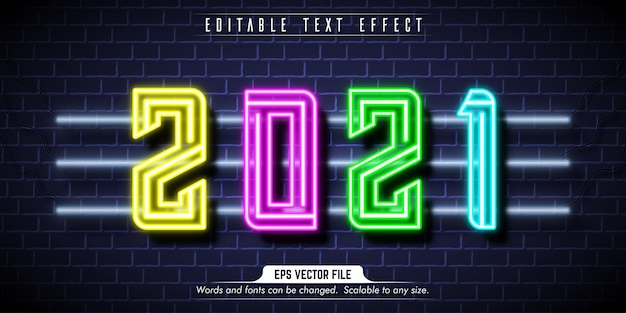New year text, neon style editable text effect