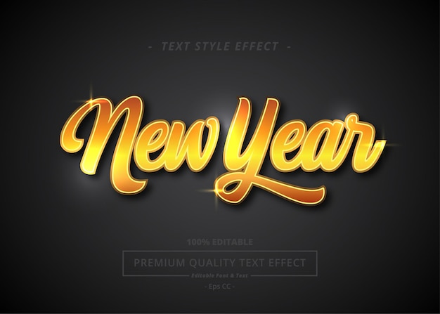 New year text style effect