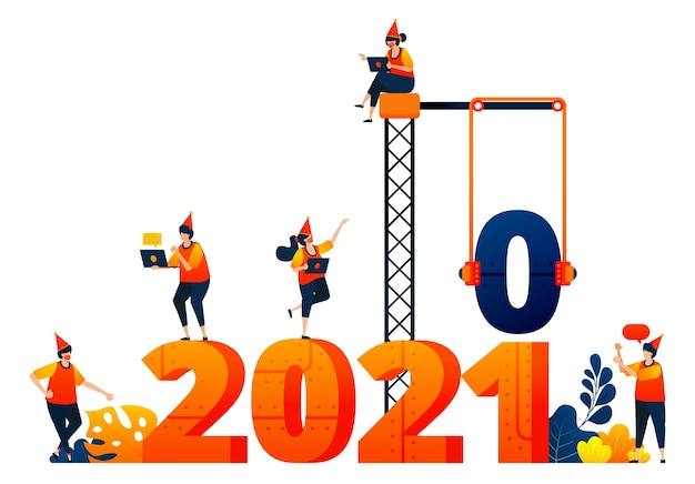 New year theme of construction and building industry concept