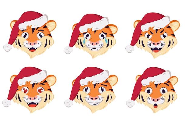 Новогодний тигр символ с эмоциями праздник символ в красной рождественской шапке праздничное украшение