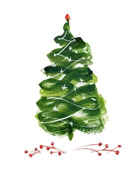 Новогодняя елка и зимняя открытка с ягодами
