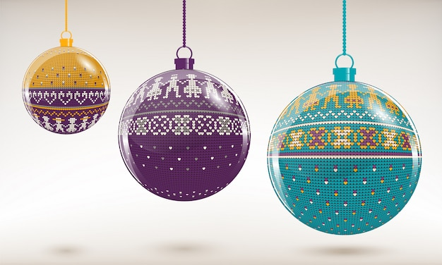 New year tree baubles with knitting ornament