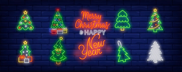 New year tree symbols set in neon style