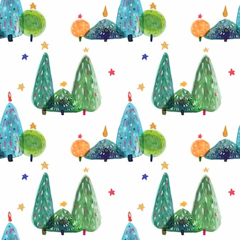 New year trees decorative watercolor pattern