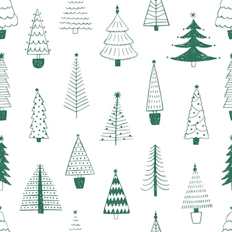 새 해 나무 손으로 그려진된 벡터 완벽 한 패턴입니다. 녹색 전나무는 흰색 바탕에 그림을 낙서합니다. 전통적인 크리스마스 테마 텍스처입니다. 식물 섬유, 벽지, 포장지 디자인.