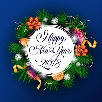 New year twenty eighteen lettering