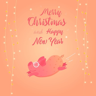 New year vector flat illustration with pink cute pig.