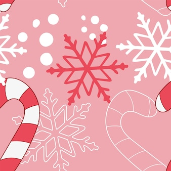 New year vector seamless pattern in pink and red colors.