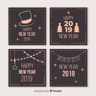 New year vintage aspect cards pack