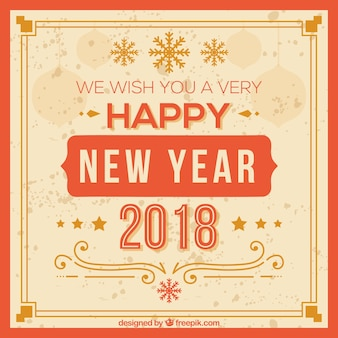 New year vintage background in a red frame