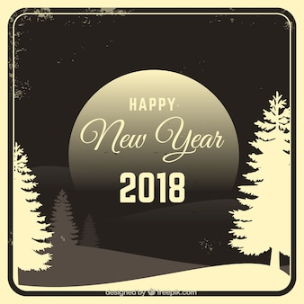 New year vintage background with landscape 2018