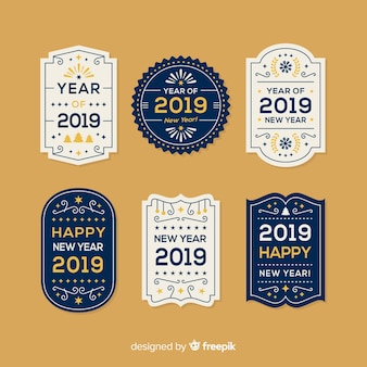 new year vintage badges collection