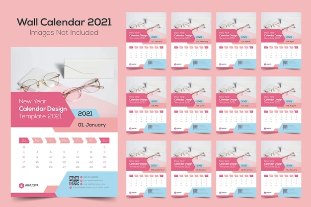 New year wall calendar design template 2021
