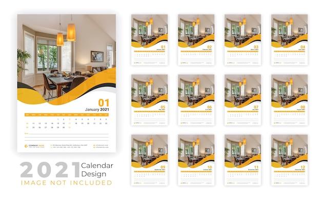 New year wall calendar design template 2021