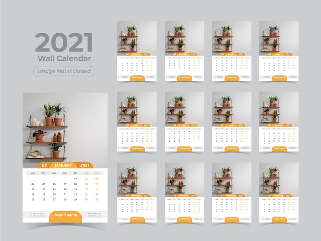 New year wall calendar