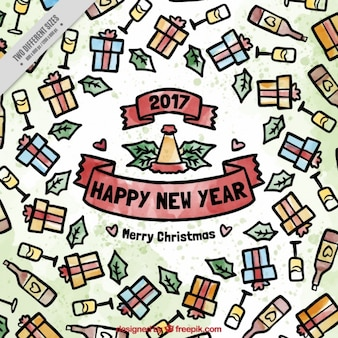 New year watercolor background of champagne and gifts
