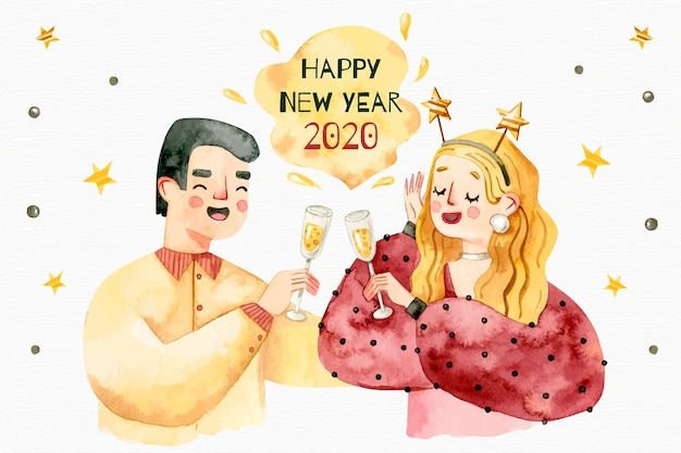 New year watercolor background