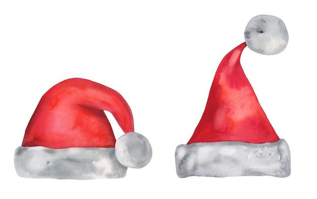 Новогодние акварельные новогодние шапки с помпонами