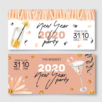 New year watercolor party banners