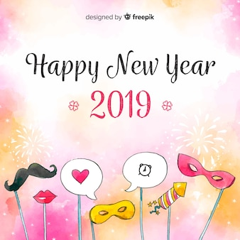 New year watercolor photocall background