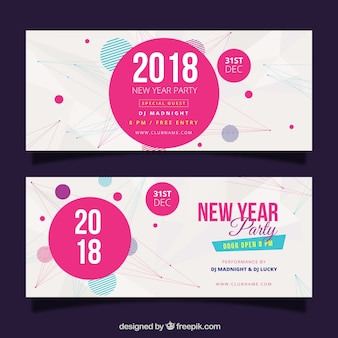 New year white banners with pink circles