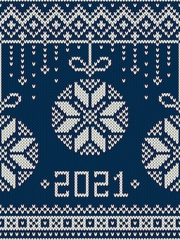 New year. winter holiday seamless knitted pattern