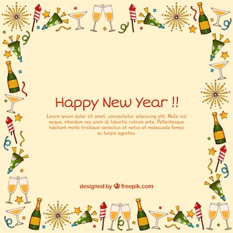 New year with hand drawn frame