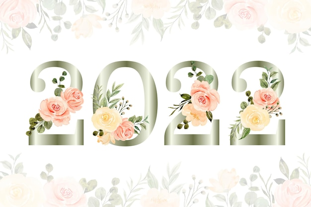 Anno nuovo con sfondo acquerello fiore rosa
