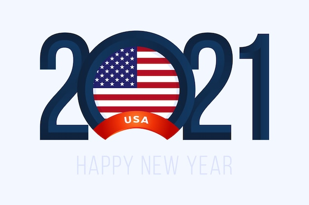 New year with usa flag isolated on white