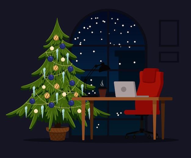 Новогоднее украшение рабочего места с елью и большим окном на задней стене сочельник на работе