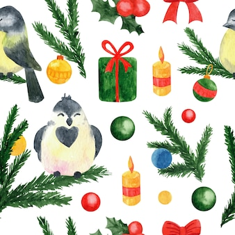 New year and xmas watercolor seamless pattern winter elements for greeting cards