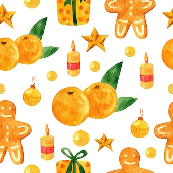 New year and xmas watercolor tangerine seamless pattern winter elements for greeting cards