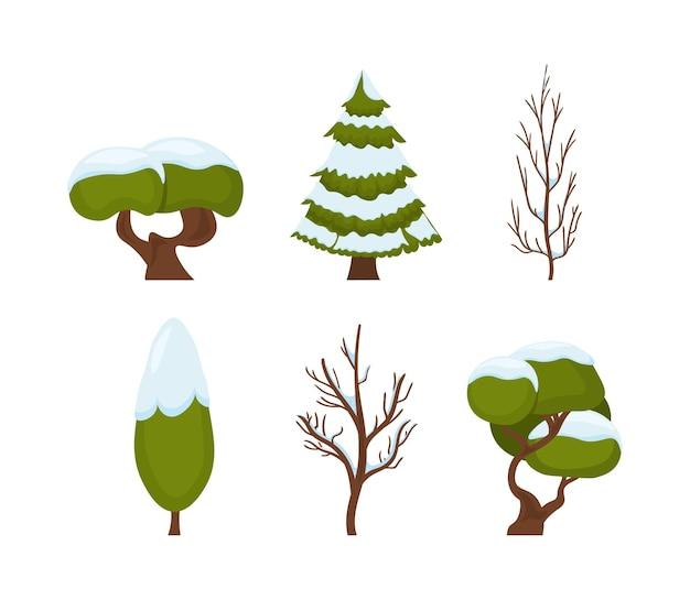 雪のイラストで新年とクリスマスの伝統的なシンボル冬の木