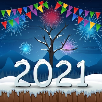 New years eve celebration with winter background