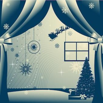 新年の挨拶テンプレートと光の背景ベクトルイラスト