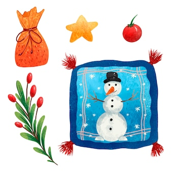 New years set of illustrations a branch of a christmas tree with red berries a star