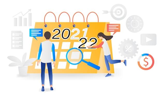 Новогодний рубеж 2021-2022 годов иллюстрация в современном плоском стиле
