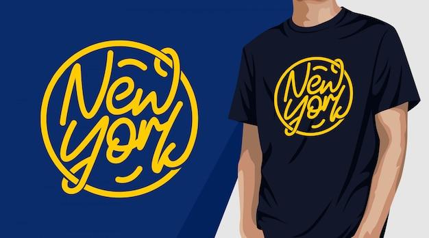 인쇄용 새로운 요크 타이포그래피 티셔츠 디자인