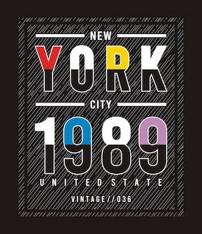 ニューヨーク1989プリントtシャツのタイポグラフィ