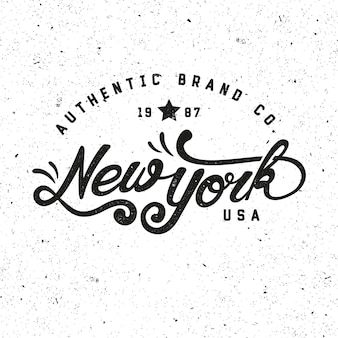 New york authentic brand. retro badge, logo, emblem