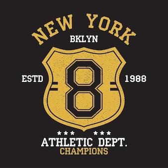 그런 지 및 방패와 tshirt 원래 옷 디자인에 대 한 뉴욕 bklyn 빈티지 숫자 그래픽