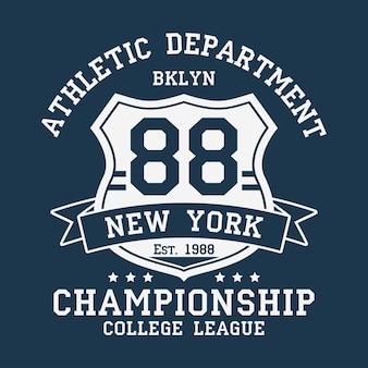 Tshirt에 대한 뉴욕 bklyn 빈티지 숫자 그래픽 리본과 방패가 있는 원래 옷 디자인