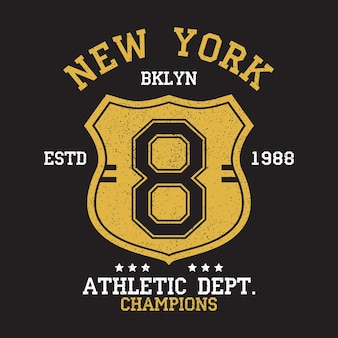 New york bklyn vintage number graphic for tshirt original clothes design with grunge and shield