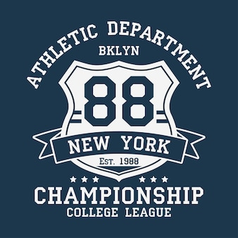 New york bklyn vintage number graphic for tshirt original clothes design with ribbon and shield