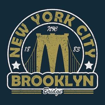New york brooklyn bridge 그런지 프린트 tshirt 오리지널 의류 디자인을 위한 빈티지 도시 그래픽