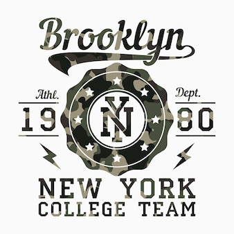 New york brooklyn  camouflage typography for design clothes athletic tshirt graphics for print