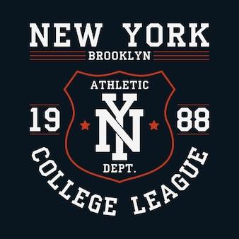 Tシャツのニューヨークブルックリングラフィックシールド付きのオリジナルの服のデザインアパレルタイポグラフィ