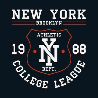 New york brooklyn graphic for tshirt original clothes design with shield apparel typography