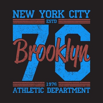 New york brooklyn  grunge print logo graphic design for number tshirt sport apparel