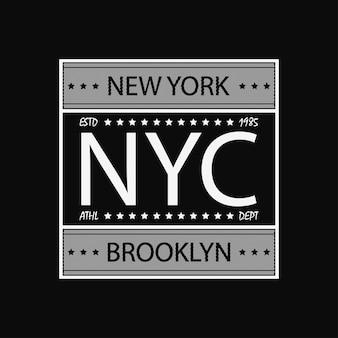 디자인 의류 운동 티셔츠에 대한 뉴욕 브루클린 현대 타이포그래피